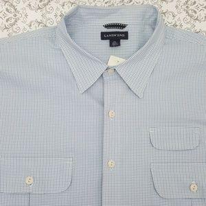 Mens Lands End XXL Light Blue & White Shirt